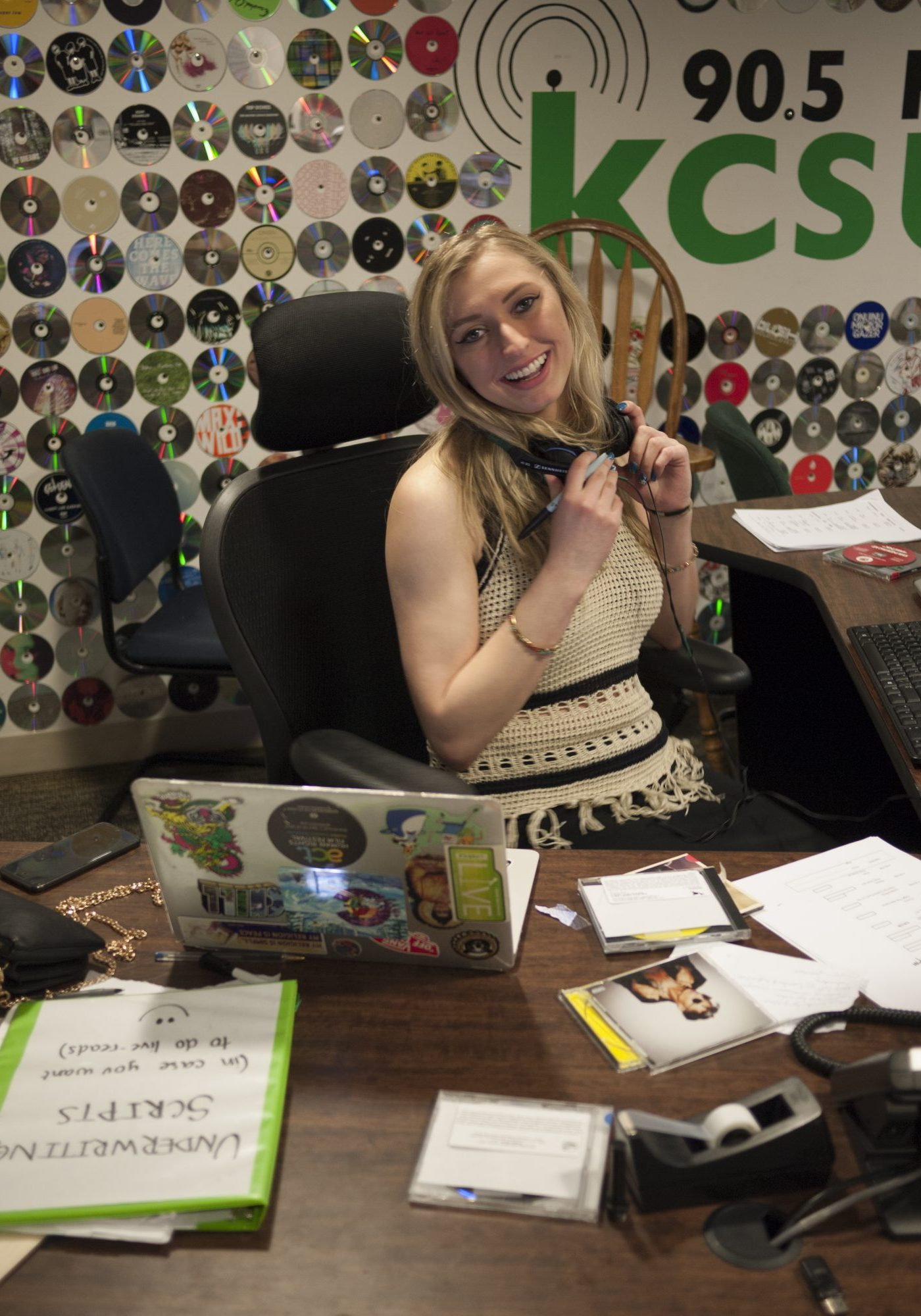 CSU student working at KCSU on air